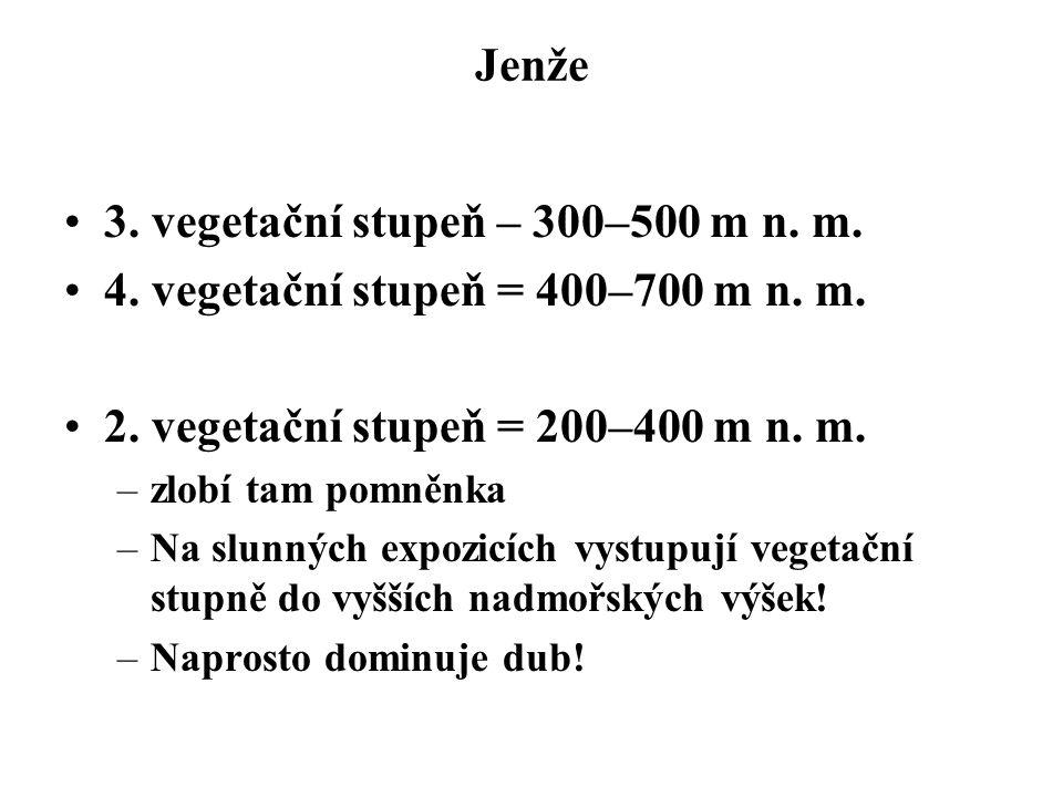 Jenže 3. vegetační stupeň – 300–500 m n. m. 4. vegetační stupeň = 400–700 m n. m. 2. vegetační stupeň = 200–400 m n. m. –zlobí tam pomněnka –Na slunný