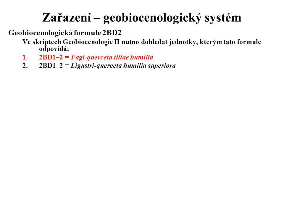 Zařazení – geobiocenologický systém Geobiocenologická formule 2BD2 Ve skriptech Geobiocenologie II nutno dohledat jednotky, kterým tato formule odpoví