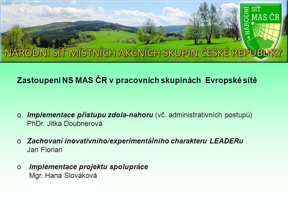 Zastoupení NS MAS ČR v pracovních skupinách Evropské sítě o Implementace přístupu zdola-nahoru (vč.