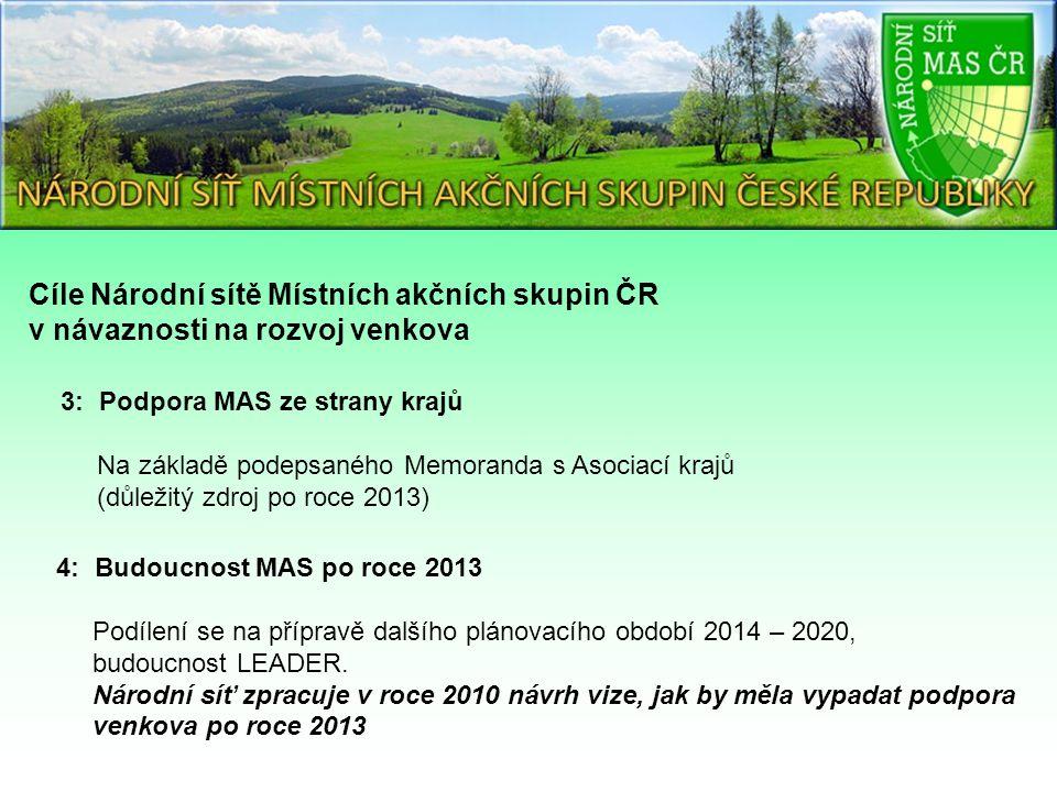 3: Podpora MAS ze strany krajů Na základě podepsaného Memoranda s Asociací krajů (důležitý zdroj po roce 2013) 4: Budoucnost MAS po roce 2013 Podílení se na přípravě dalšího plánovacího období 2014 – 2020, budoucnost LEADER.