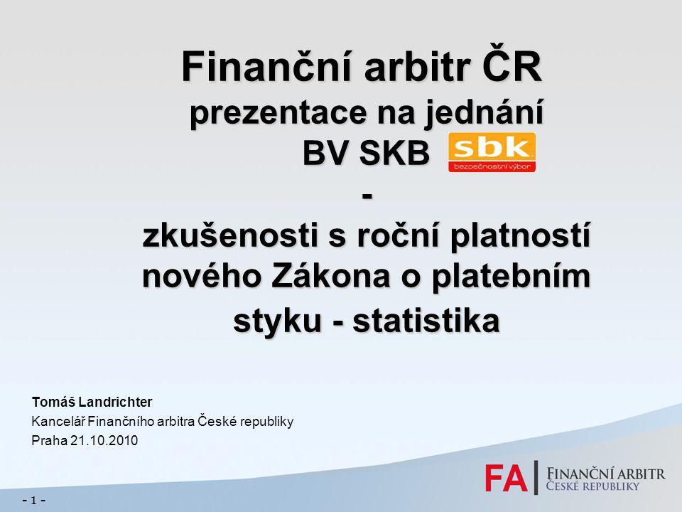 Finanční arbitr ČR prezentace na jednání BV SKB - zkušenosti s roční platností nového Zákona o platebním styku - statistika Finanční arbitr ČR prezent