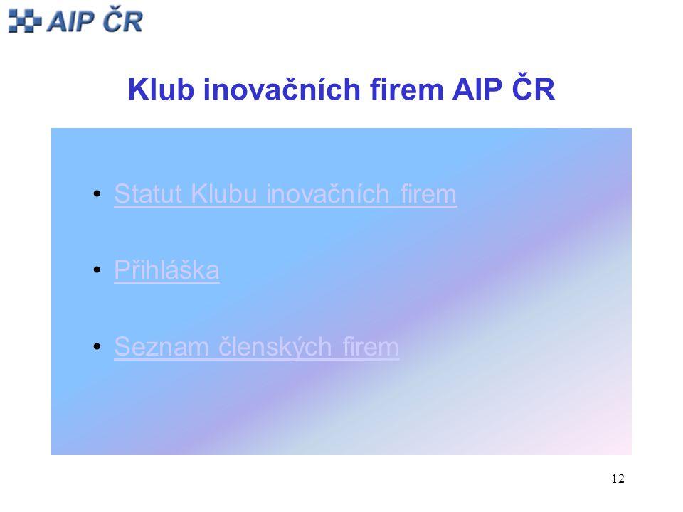 12 Klub inovačních firem AIP ČR Statut Klubu inovačních firem Přihláška Seznam členských firem