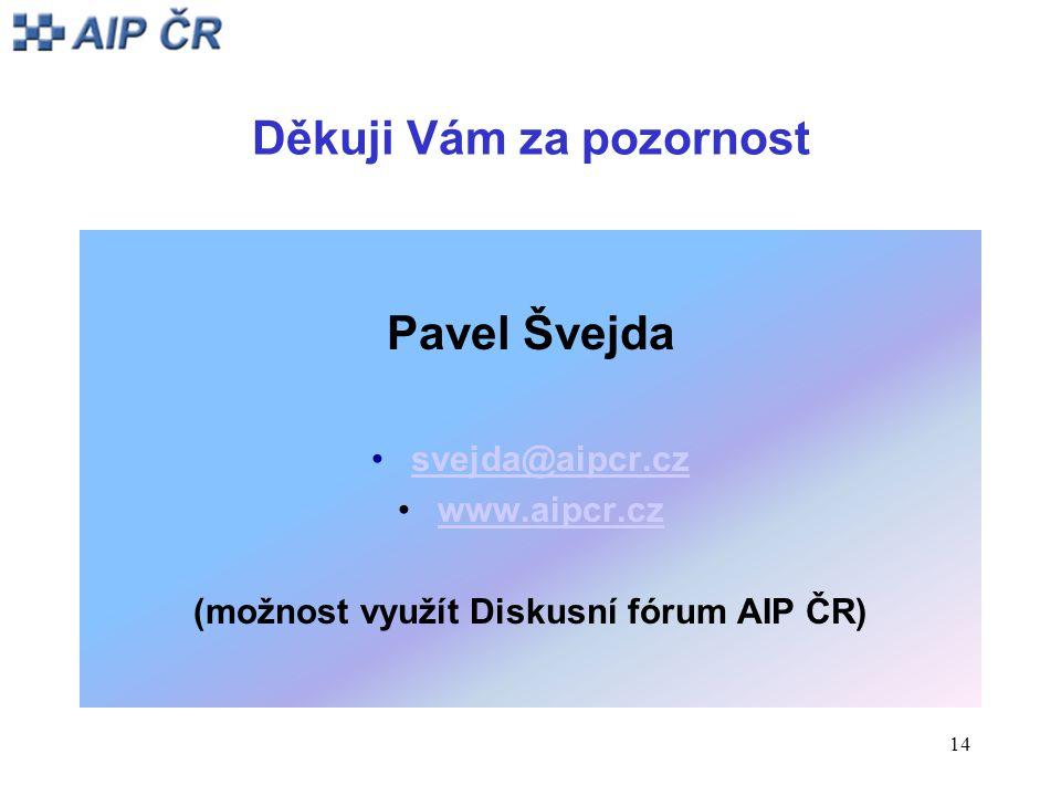 14 Děkuji Vám za pozornost Pavel Švejda svejda@aipcr.cz www.aipcr.cz (možnost využít Diskusní fórum AIP ČR)