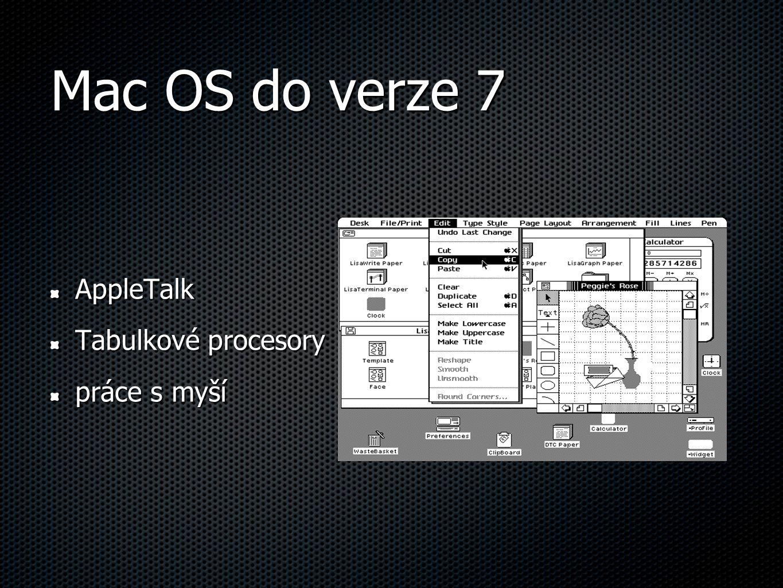 Mac OS do verze 7 AppleTalk Tabulkové procesory práce s myší