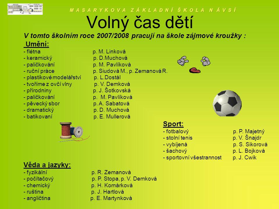 Volný čas dětí V tomto školním roce 2007/2008 pracují na škole zájmové kroužky : Umění: - flétna p.