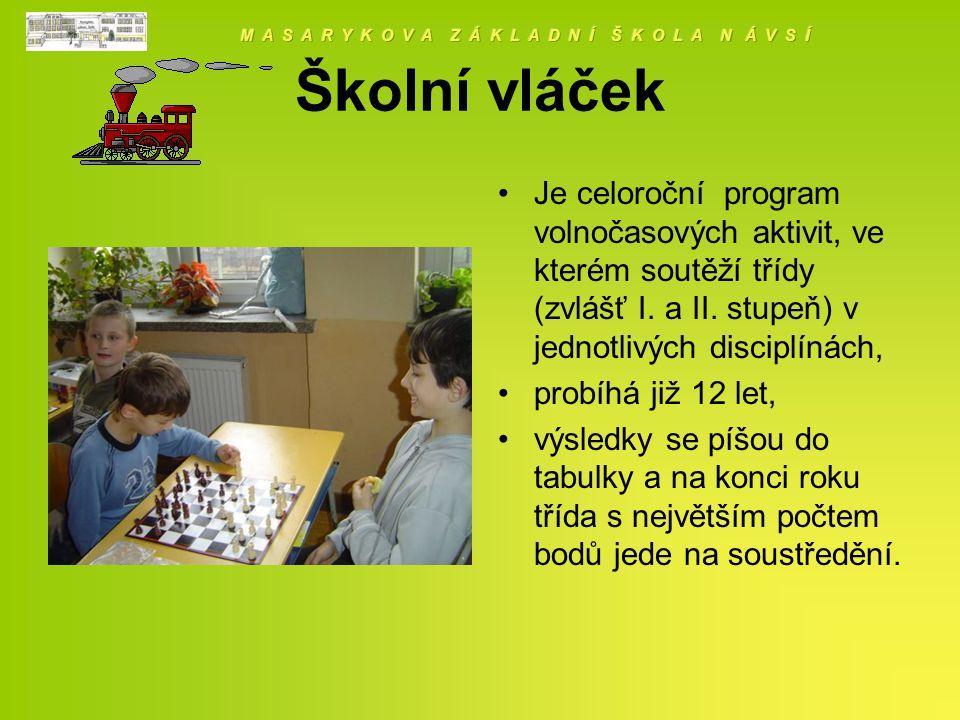 Školní vláček Je celoroční program volnočasových aktivit, ve kterém soutěží třídy (zvlášť I.