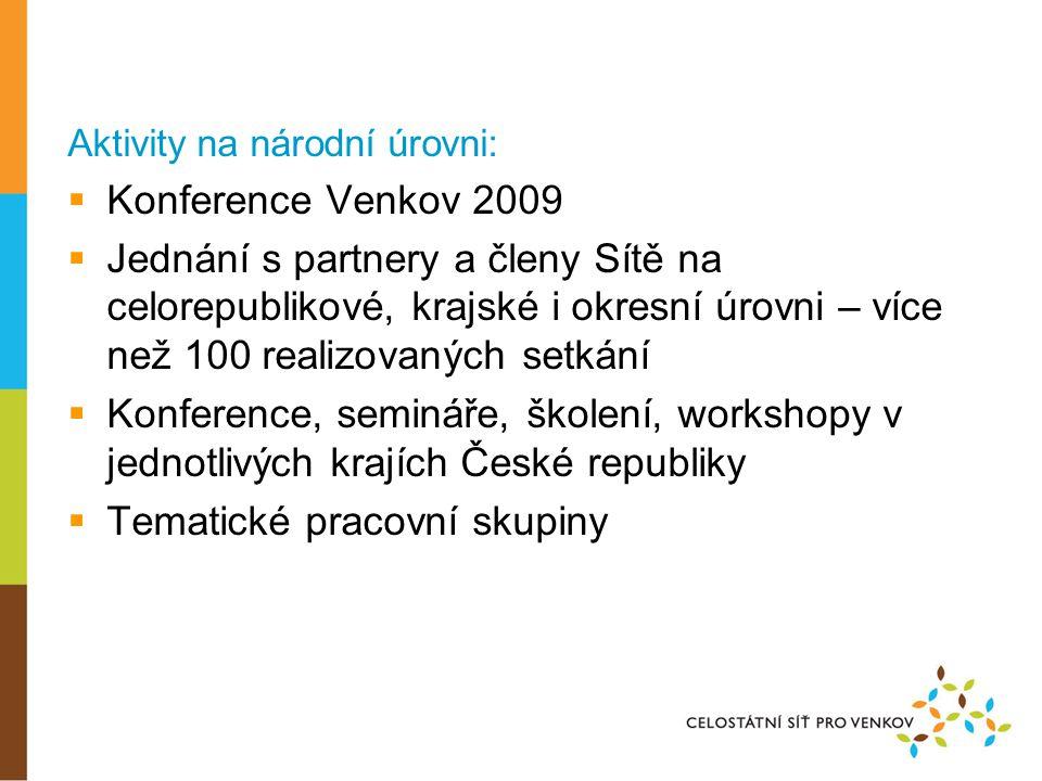 Aktivity na národní úrovni:  Konference Venkov 2009  Jednání s partnery a členy Sítě na celorepublikové, krajské i okresní úrovni – více než 100 realizovaných setkání  Konference, semináře, školení, workshopy v jednotlivých krajích České republiky  Tematické pracovní skupiny