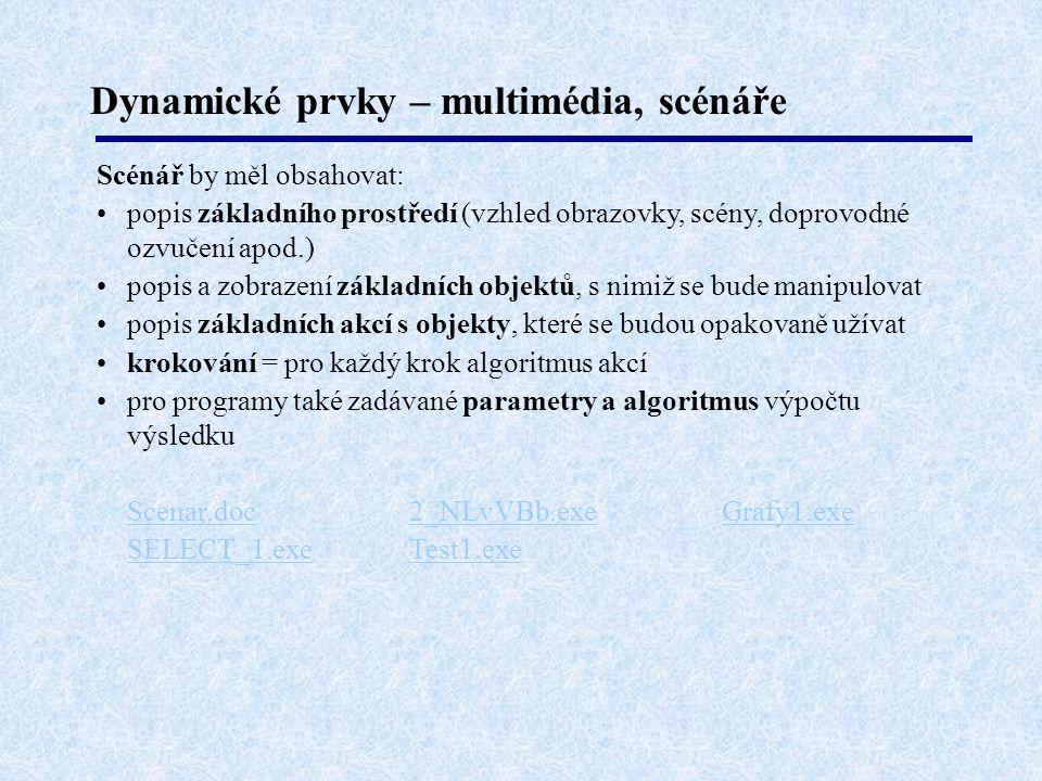 Dynamické prvky – multimédia, scénáře Scénář by měl obsahovat: popis základního prostředí (vzhled obrazovky, scény, doprovodné ozvučení apod.) popis a