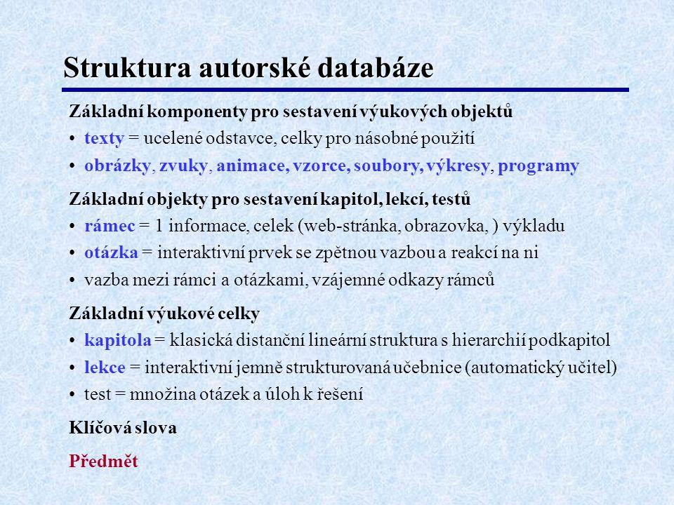 Struktura autorské databáze Základní komponenty pro sestavení výukových objektů texty = ucelené odstavce, celky pro násobné použití obrázky, zvuky, an