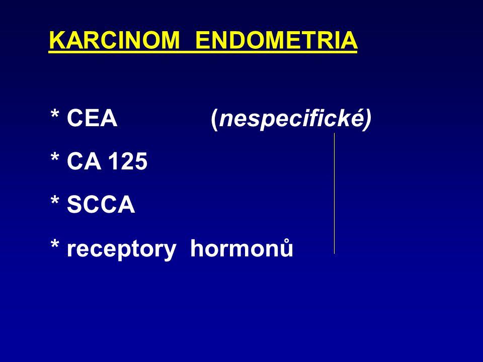 KARCINOM OVARIA * CYFRA 21-1 nemucinózní i mucinózní (rozlišení maligní X benigní: nad 5,8  g/l * CA 125 nemucinózní a nediferencovaný (I. a II. stad