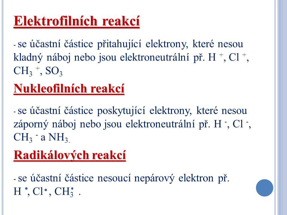 Elektrofilních reakcí - se účastní částice přitahující elektrony, které nesou kladný náboj nebo jsou elektroneutrální př. H +, Cl +, CH 3 +, SO 3 Nukl