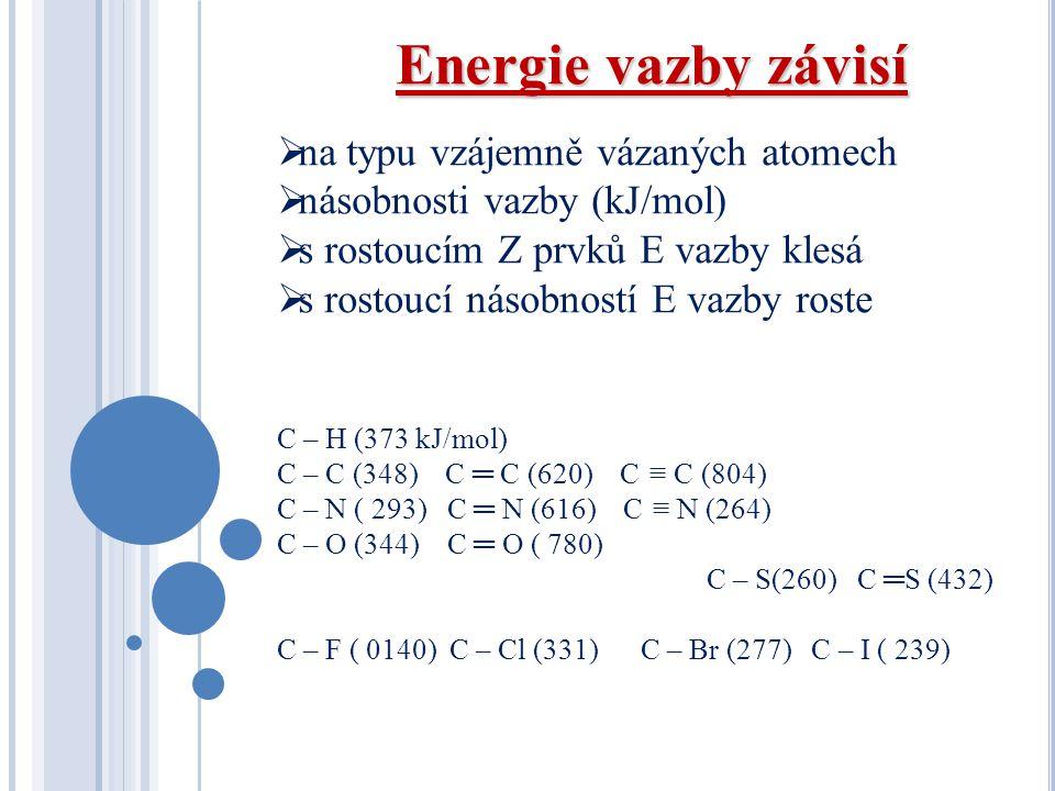 Energie vazby závisí  na typu vzájemně vázaných atomech  násobnosti vazby (kJ/mol)  s rostoucím Z prvků E vazby klesá  s rostoucí násobností E vaz