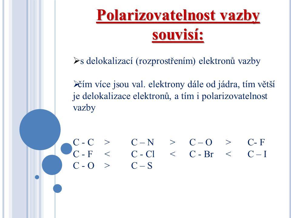 Polarizovatelnost vazby souvisí:  s delokalizací (rozprostřením) elektronů vazby  čím více jsou val. elektrony dále od jádra, tím větší je delokaliz
