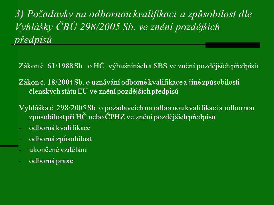 3) Požadavky na odbornou kvalifikaci a způsobilost dle Vyhlášky ČBÚ 298/2005 Sb. ve znění pozdějších předpisů Zákon č. 61/1988 Sb. o HČ, výbušninách a