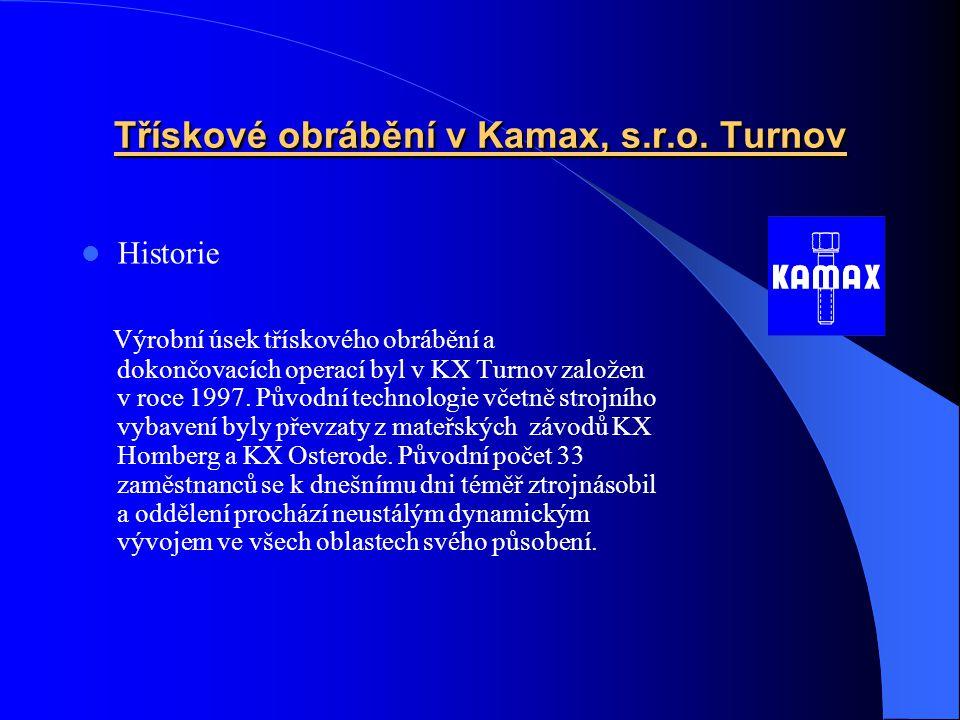 Třískové obrábění v Kamax, s.r.o.