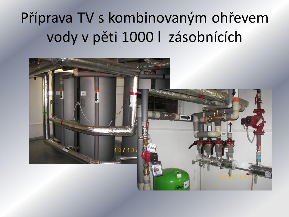 Příprava TV s kombinovaným ohřevem vody v pěti 1000 l zásobnících