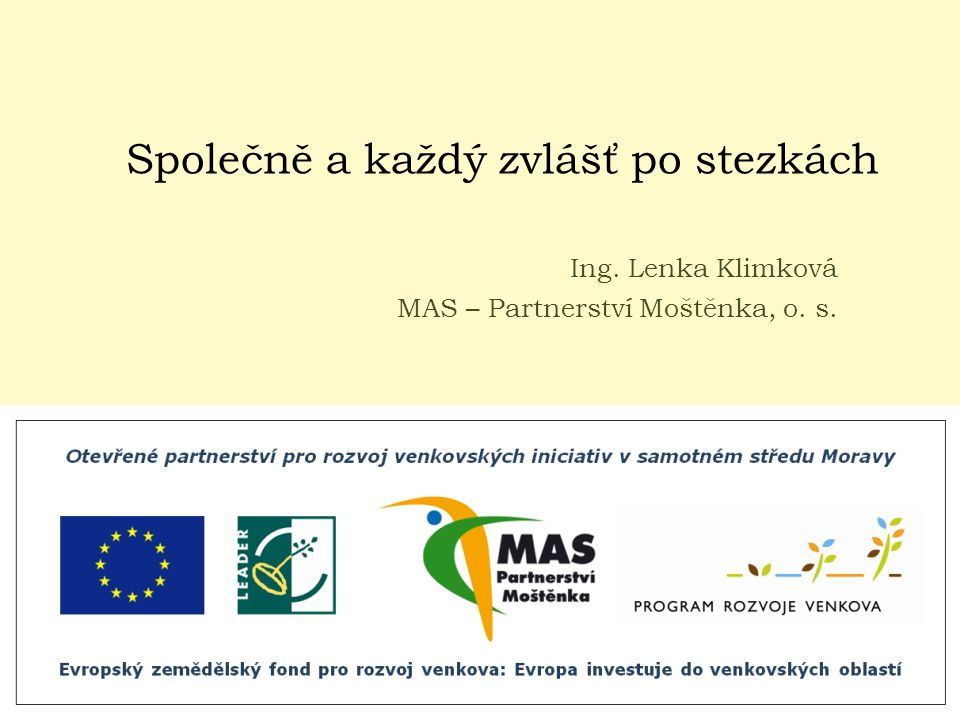 Společně a každý zvlášť po stezkách Ing. Lenka Klimková MAS – Partnerství Moštěnka, o. s.