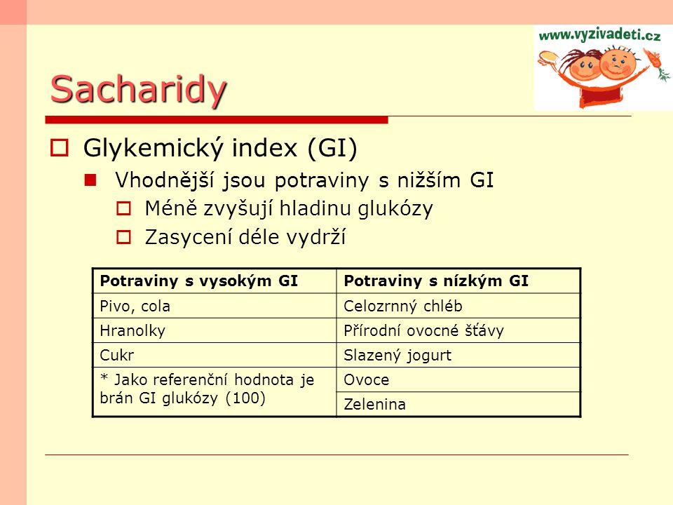 Sacharidy  Glykemický index (GI) Vhodnější jsou potraviny s nižším GI  Méně zvyšují hladinu glukózy  Zasycení déle vydrží Potraviny s vysokým GIPot