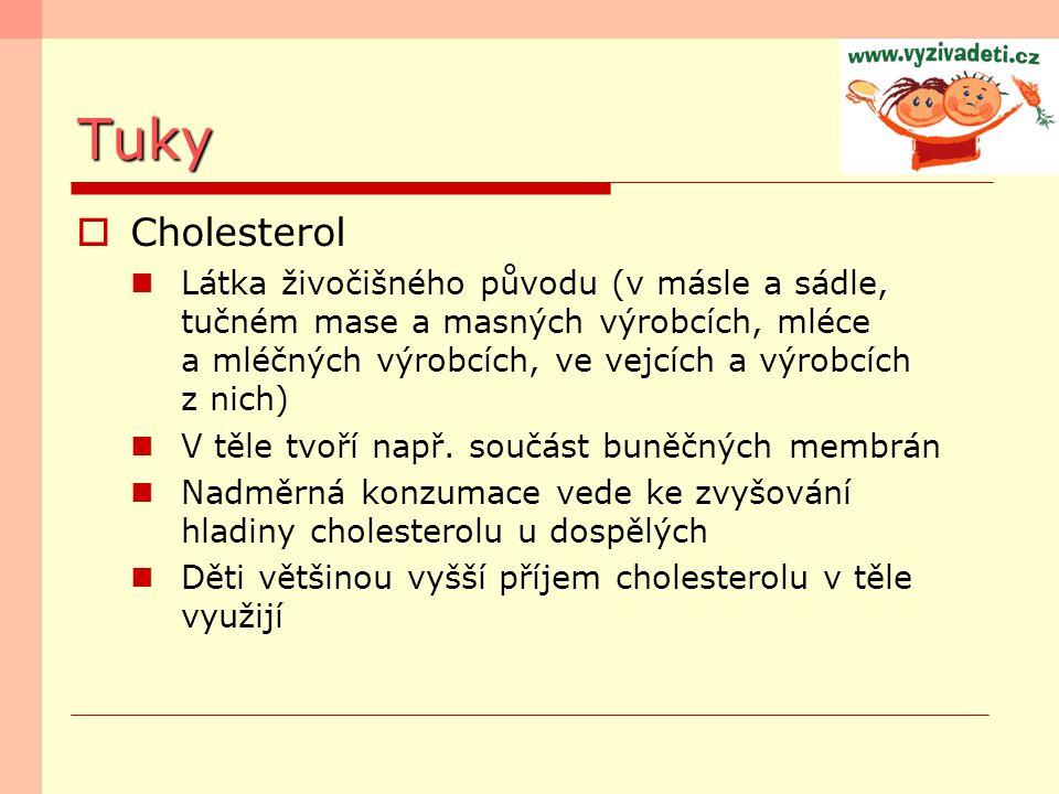 Tuky  Cholesterol Látka živočišného původu (v másle a sádle, tučném mase a masných výrobcích, mléce a mléčných výrobcích, ve vejcích a výrobcích z ni