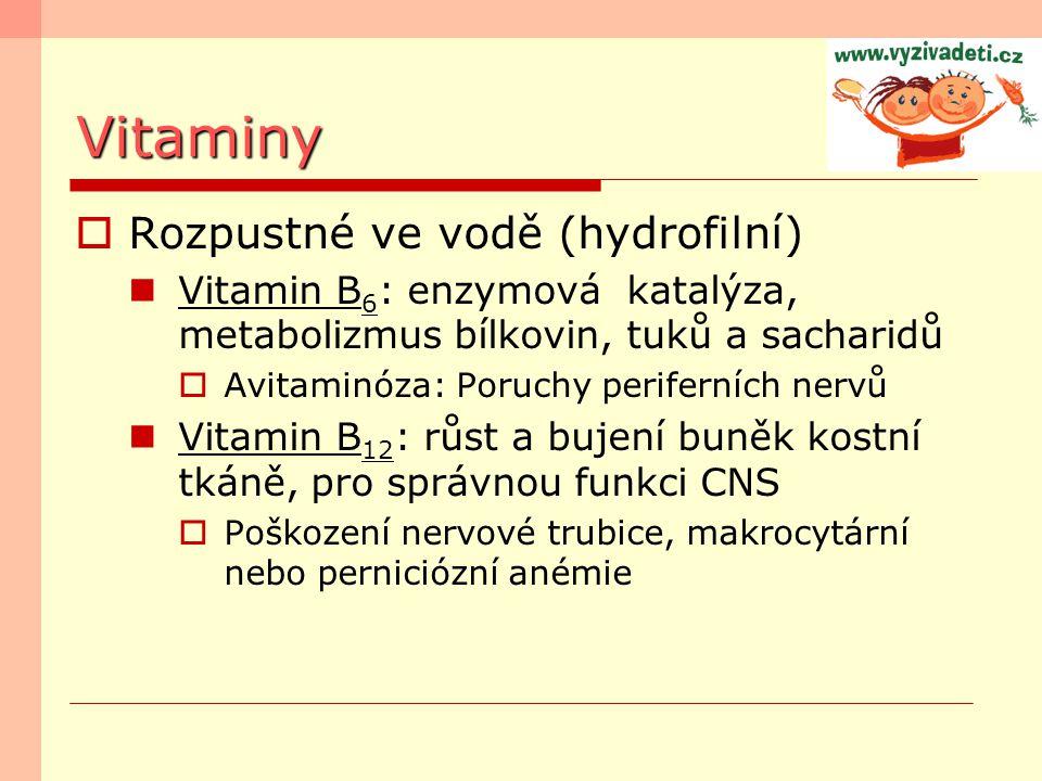 Vitaminy  Rozpustné ve vodě (hydrofilní) Vitamin B 6 : enzymová katalýza, metabolizmus bílkovin, tuků a sacharidů  Avitaminóza: Poruchy periferních