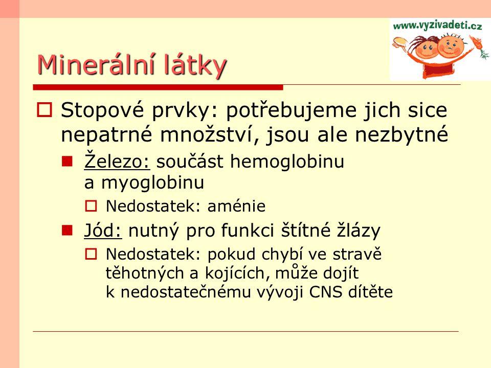 Minerální látky  Stopové prvky: potřebujeme jich sice nepatrné množství, jsou ale nezbytné Železo: součást hemoglobinu a myoglobinu  Nedostatek: amé