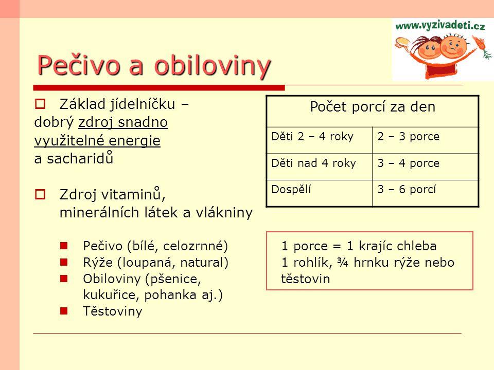 Pečivo a obiloviny Počet porcí za den Děti 2 – 4 roky2 – 3 porce Děti nad 4 roky3 – 4 porce Dospělí3 – 6 porcí  Základ jídelníčku – dobrý zdroj snadn
