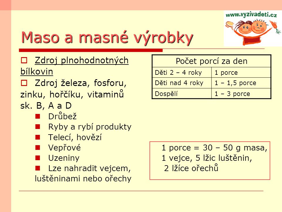 Maso a masné výrobky  Zdroj plnohodnotných bílkovin  Zdroj železa, fosforu, zinku, hořčíku, vitaminů sk. B, A a D Drůbež Ryby a rybí produkty Telecí