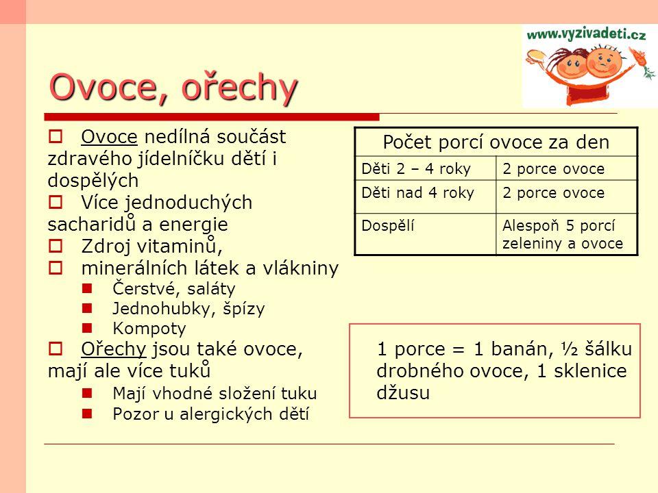 Ovoce, ořechy  Ovoce nedílná součást zdravého jídelníčku dětí i dospělých  Více jednoduchých sacharidů a energie  Zdroj vitaminů,  minerálních lát