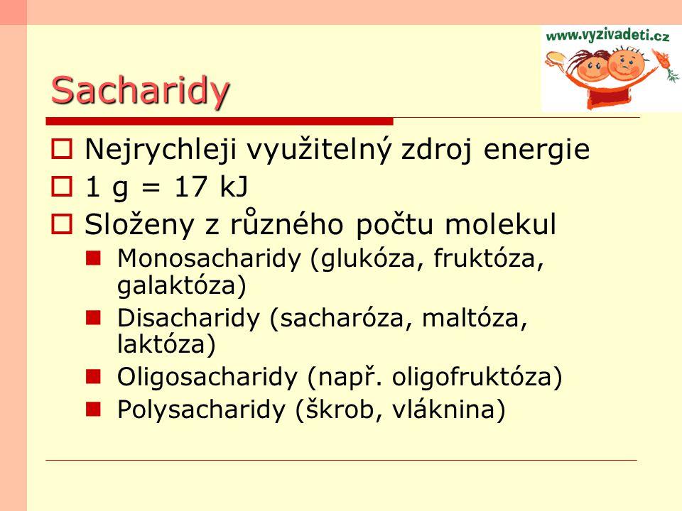 Sacharidy  Nejrychleji využitelný zdroj energie  1 g = 17 kJ  Složeny z různého počtu molekul Monosacharidy (glukóza, fruktóza, galaktóza) Disachar