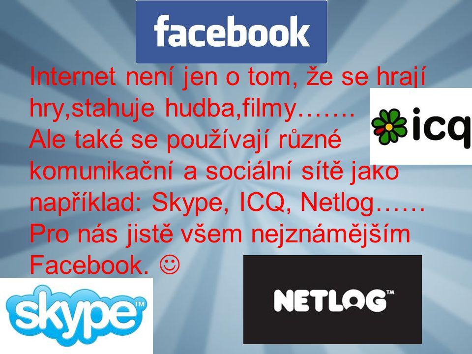 Internet není jen o tom, že se hrají hry,stahuje hudba,filmy……. Ale také se používají různé komunikační a sociální sítě jako například: Skype, ICQ, Ne