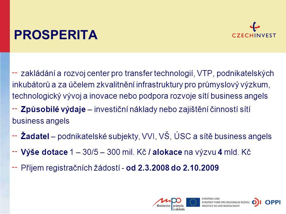 PROSPERITA ╌ zakládání a rozvoj center pro transfer technologií, VTP, podnikatelských inkubátorů a za účelem zkvalitnění infrastruktury pro průmyslový výzkum, technologický vývoj a inovace nebo podpora rozvoje sítí business angels ╌ Způsobilé výdaje – investiční náklady nebo zajištění činností sítí business angels ╌ Žadatel – podnikatelské subjekty, VVI, VŠ, ÚSC a sítě business angels ╌ Výše dotace 1 – 30/5 – 300 mil.