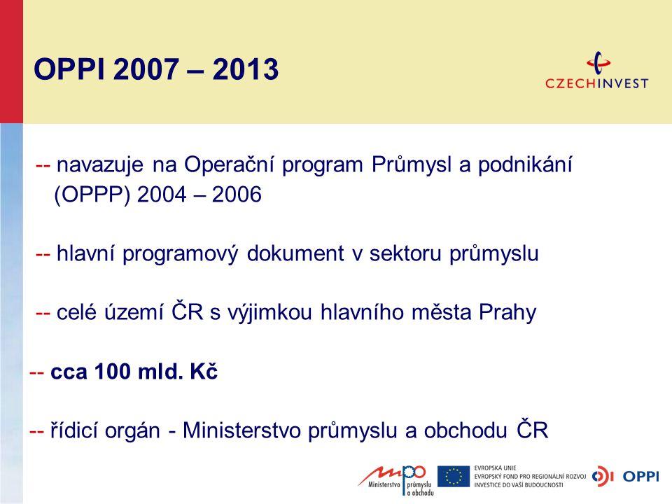 OPPI 2007 – 2013 -- navazuje na Operační program Průmysl a podnikání (OPPP) 2004 – 2006 -- hlavní programový dokument v sektoru průmyslu -- celé území ČR s výjimkou hlavního města Prahy -- cca 100 mld.