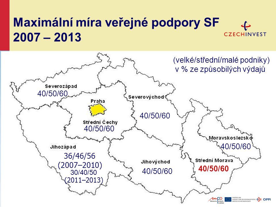 Maximální míra veřejné podpory SF 2007 – 2013 30/40/50 (2011–2013) 40/50/60 36/46/56 (2007–2010) (velké/střední/malé podniky) v % ze způsobilých výdajů 40/50/60