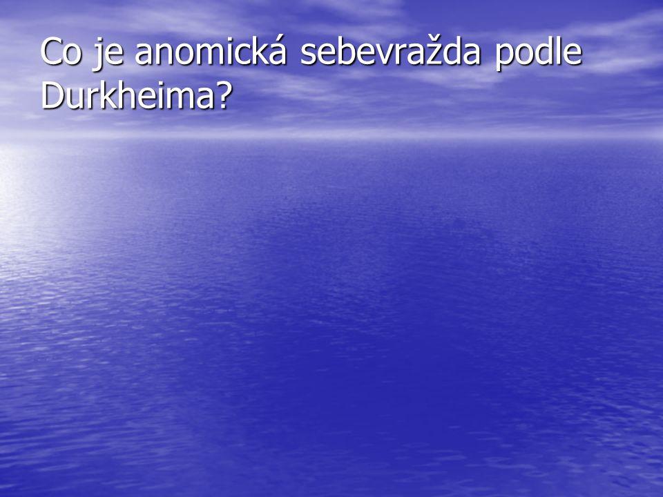 Co je anomická sebevražda podle Durkheima