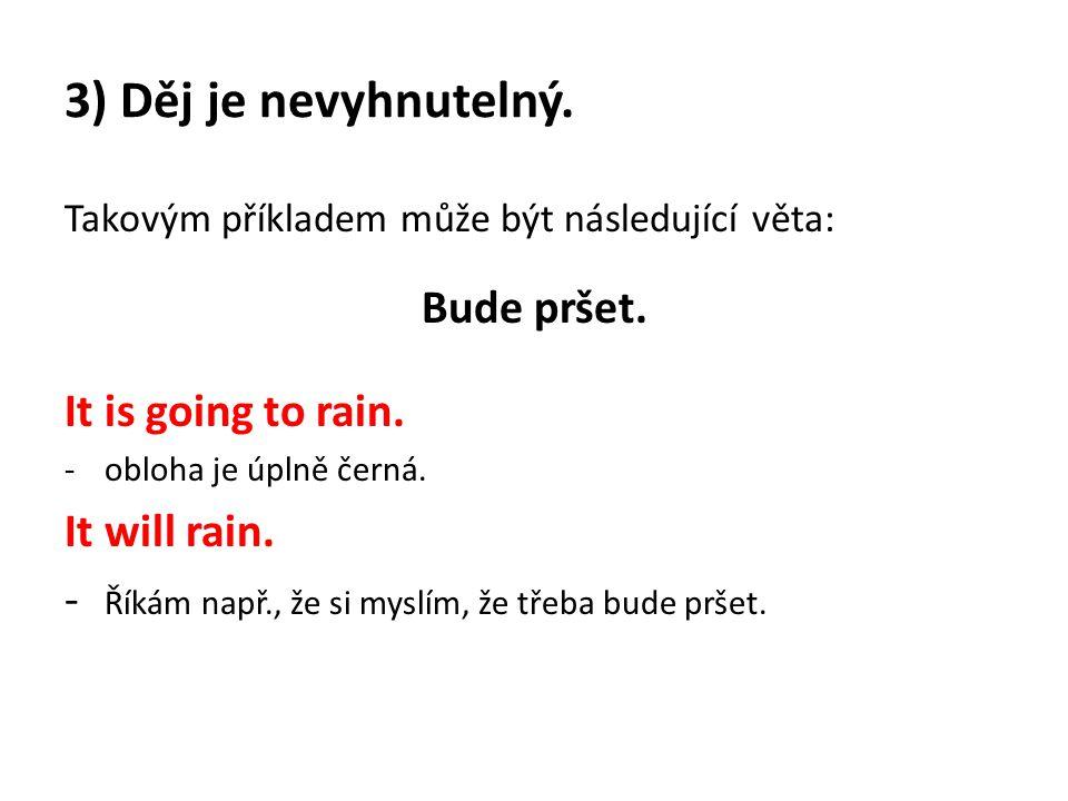 3) Děj je nevyhnutelný. Takovým příkladem může být následující věta: Bude pršet. It is going to rain. -obloha je úplně černá. It will rain. - Říkám na