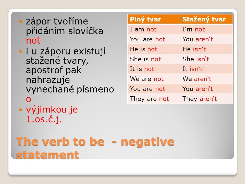The verb to be - negative statement zápor tvoříme přidáním slovíčka not i u záporu existují stažené tvary, apostrof pak nahrazuje vynechané písmeno o výjimkou je 1.os.č.j.