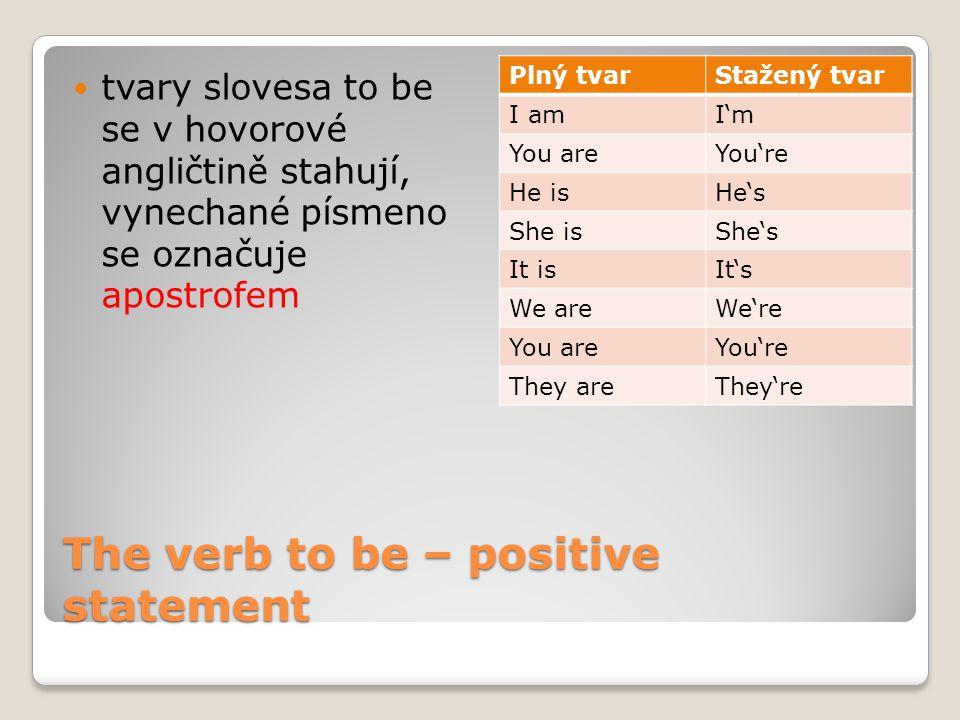 The verb to be – positive statement tvary slovesa to be se v hovorové angličtině stahují, vynechané písmeno se označuje apostrofem Plný tvarStažený tvar I amI'm You areYou're He isHe's She isShe's It isIt's We areWe're You areYou're They areThey're