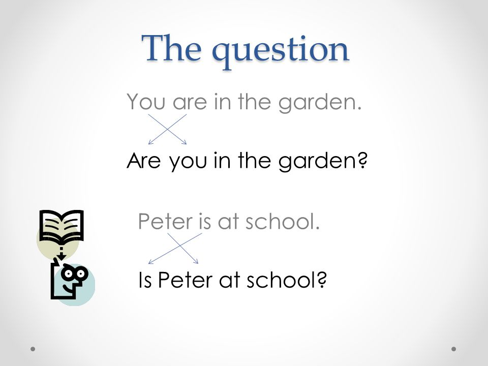 The question The question You are in the garden. Are you in the garden? Peter is at school. Is Peter at school?
