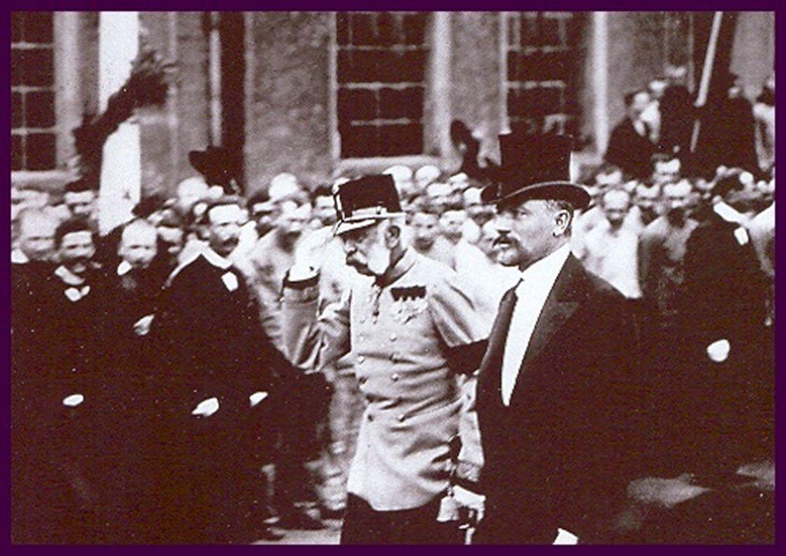 Češi vítají svého císaře Františka Josefa 1.