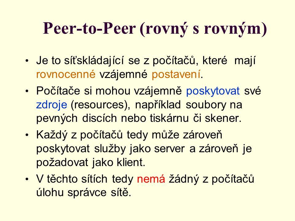 Peer-to-Peer (rovný s rovným) Je to síťskládající se z počítačů, které mají rovnocenné vzájemné postavení.
