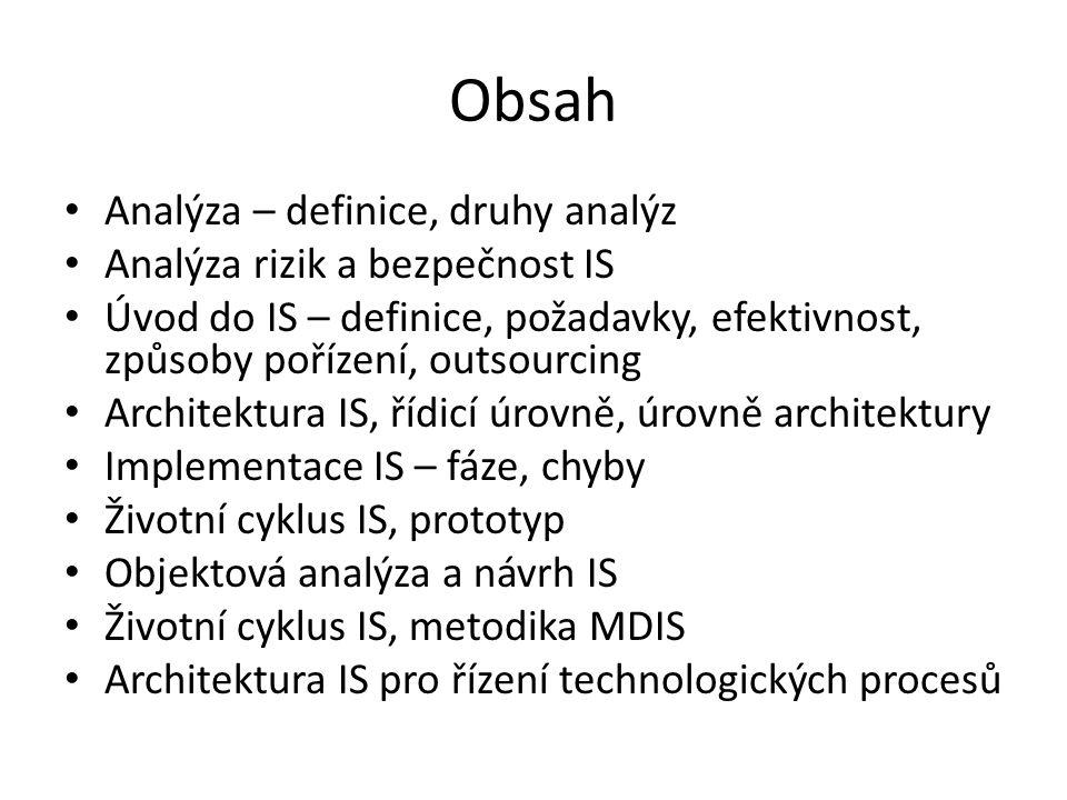 Obsah Analýza – definice, druhy analýz Analýza rizik a bezpečnost IS Úvod do IS – definice, požadavky, efektivnost, způsoby pořízení, outsourcing Architektura IS, řídicí úrovně, úrovně architektury Implementace IS – fáze, chyby Životní cyklus IS, prototyp Objektová analýza a návrh IS Životní cyklus IS, metodika MDIS Architektura IS pro řízení technologických procesů