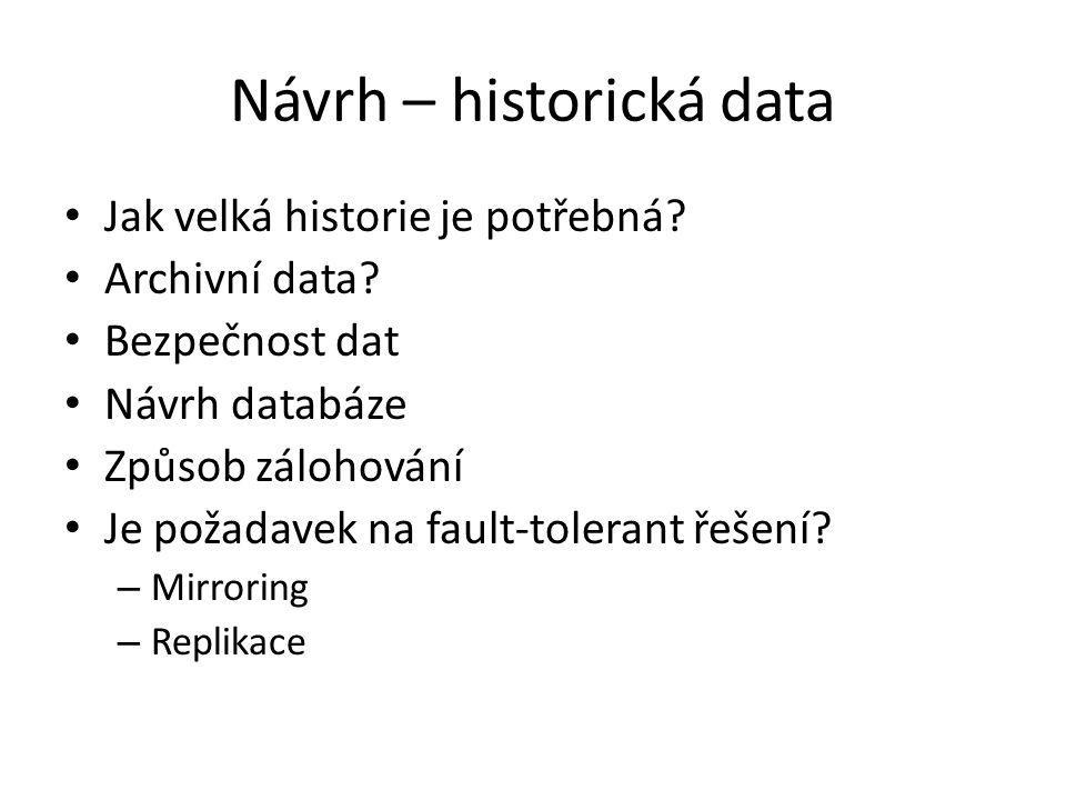 Návrh – historická data Jak velká historie je potřebná.