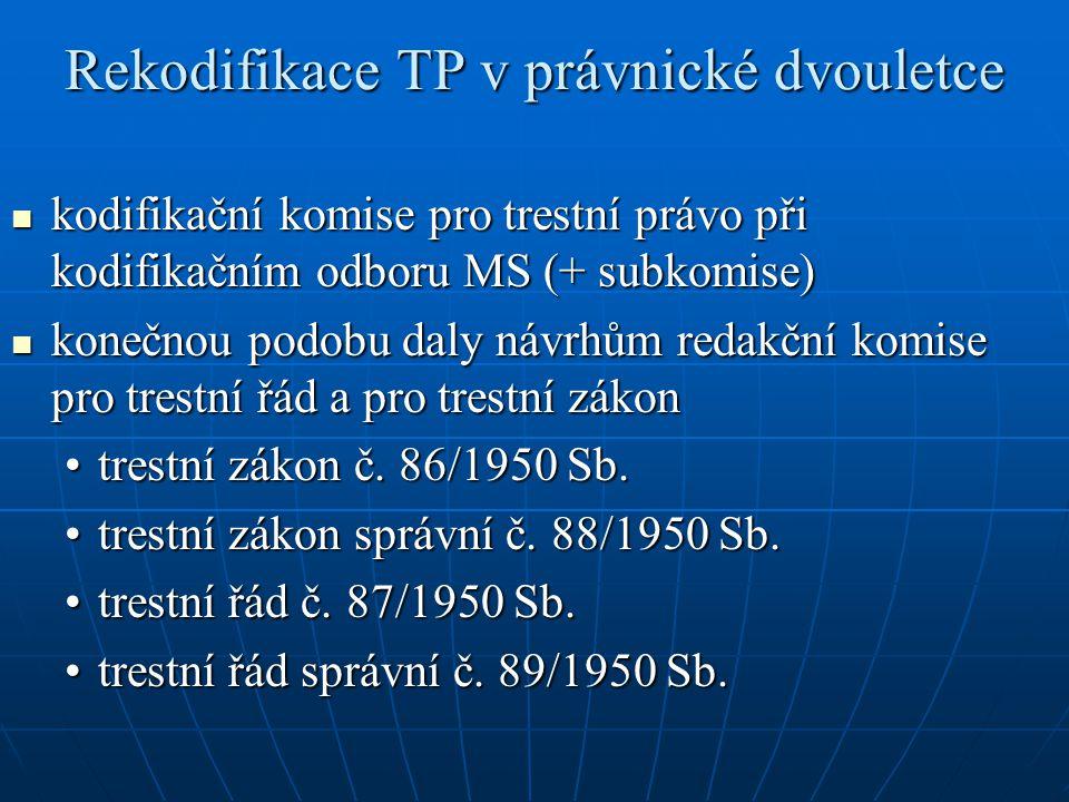 Rekodifikace TP v právnické dvouletce kodifikační komise pro trestní právo při kodifikačním odboru MS (+ subkomise) kodifikační komise pro trestní prá