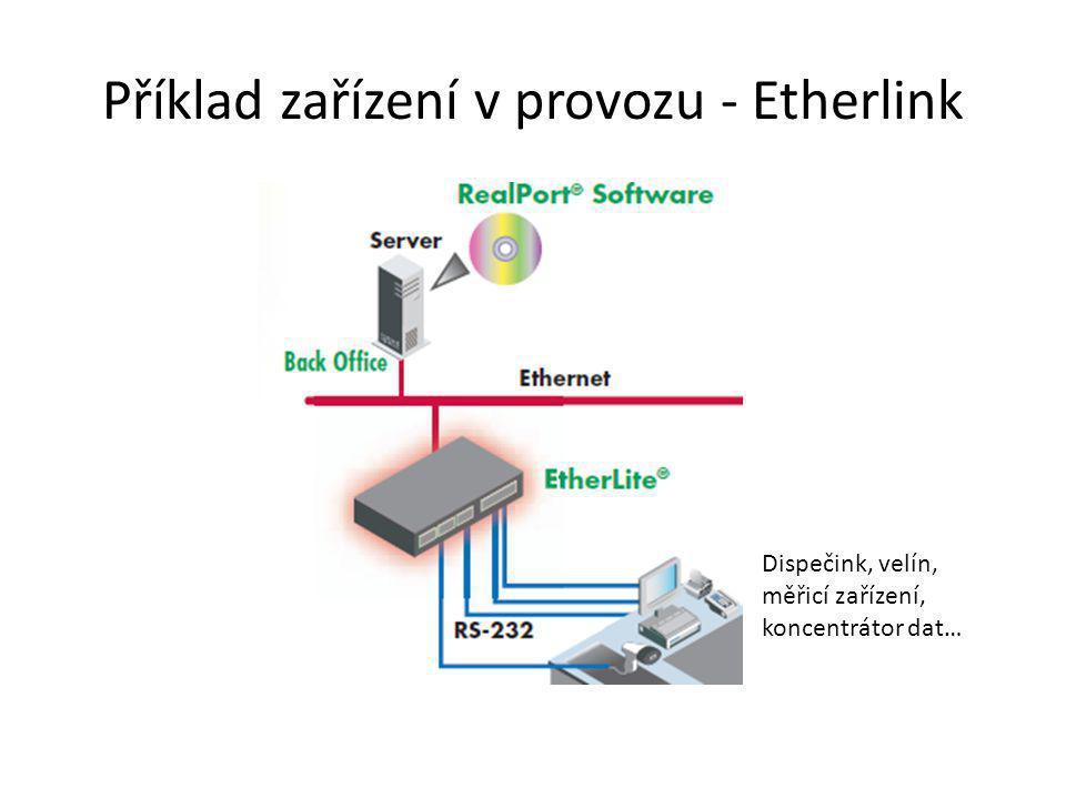 Příklad zařízení v provozu - Etherlink Dispečink, velín, měřicí zařízení, koncentrátor dat…