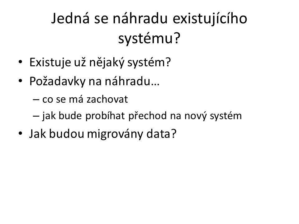 Jedná se náhradu existujícího systému. Existuje už nějaký systém.