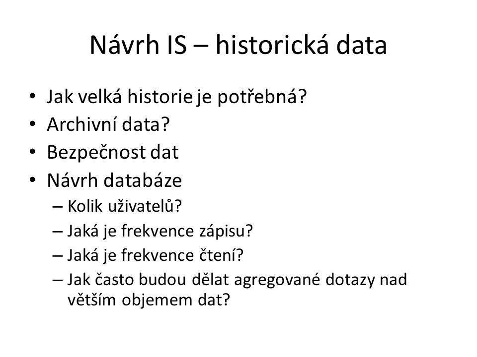 Návrh IS – historická data Jak velká historie je potřebná.