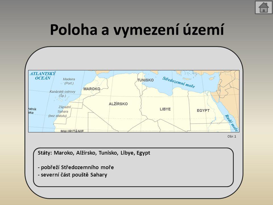 Poloha a vymezení území Státy: Maroko, Alžírsko, Tunisko, Libye, Egypt - pobřeží Středozemního moře - severní část pouště Sahary Obr.1