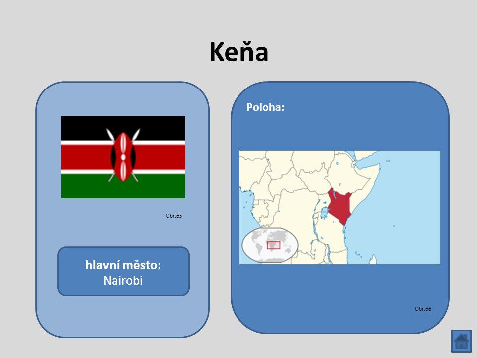 Keňa hlavní město: Nairobi Poloha: Obr.65 Obr.66