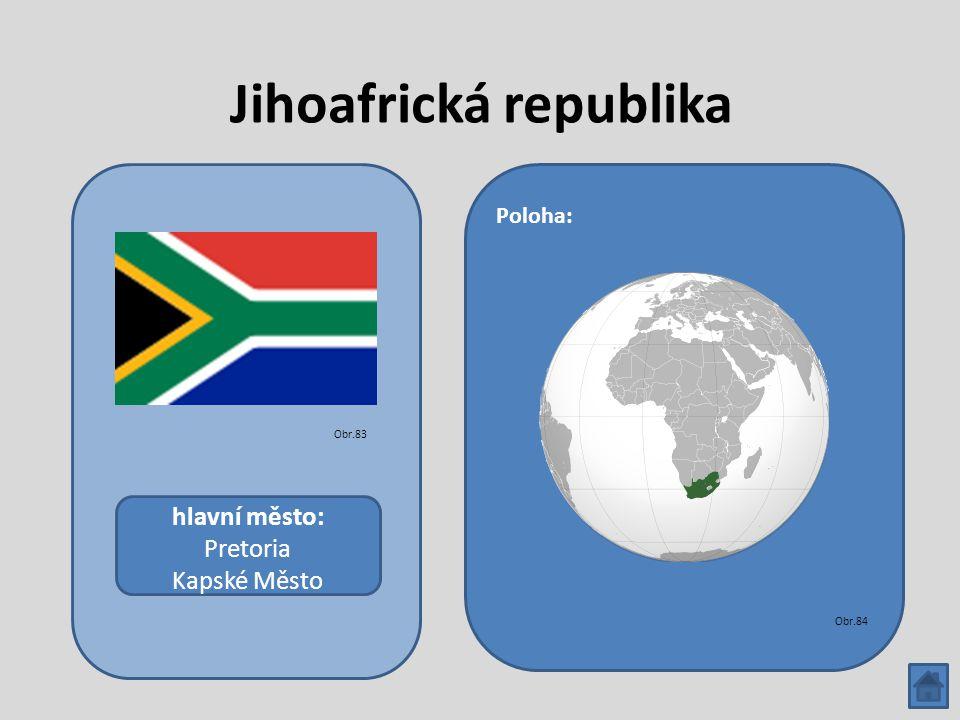 Jihoafrická republika hlavní město: Pretoria Kapské Město Poloha: Obr.83 Obr.84