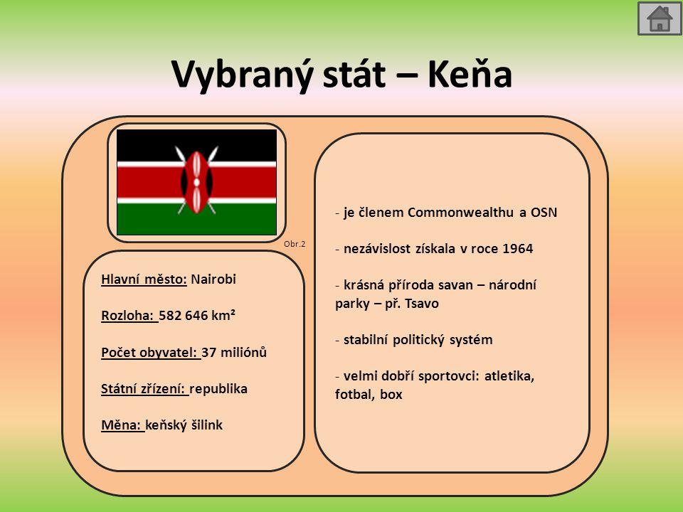 Vybraný stát – Keňa Hlavní město: Nairobi Rozloha: 582 646 km² Počet obyvatel: 37 miliónů Státní zřízení: republika Měna: keňský šilink - je členem Co